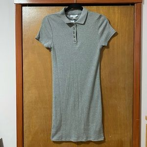 Topshop Grey Ribbed Polo Dress